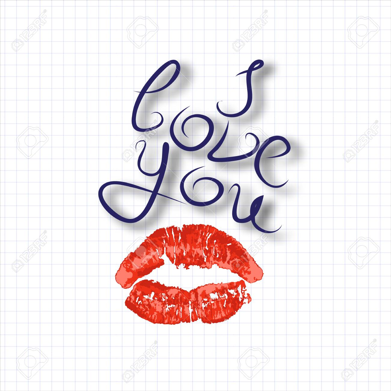 I love you, air kiss, imprint of red lipstick lips, caliber inscription, declaration of love, vector illustration - 94471814