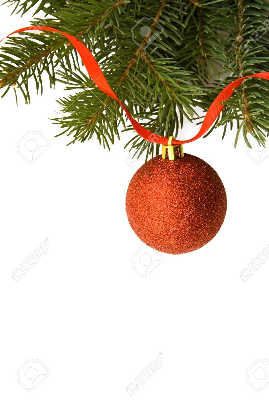 Christmas background whis red sphere and Pine branch Stock Photo - 8095514