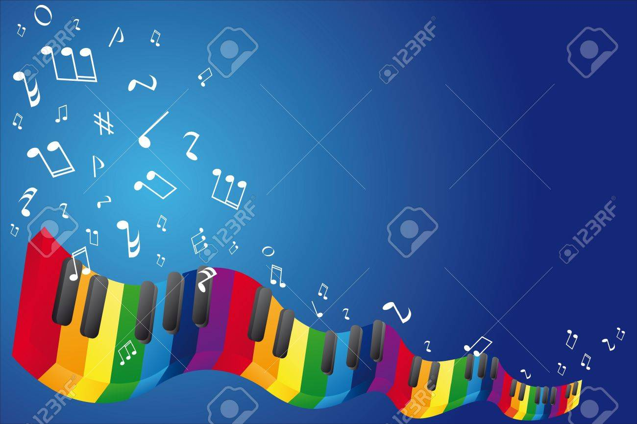 Music background with music notes and piano keyboard Stock Vector - 10555618