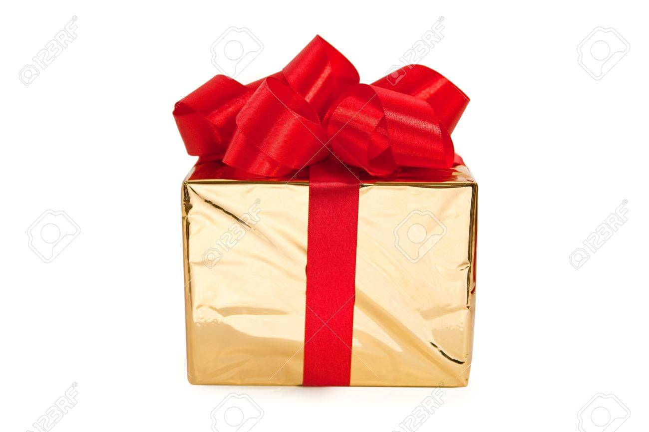 foto de archivo una caja de oro atado con un lazo de satn cinta roja un regalo para navidad cumpleaos boda o de san valentn