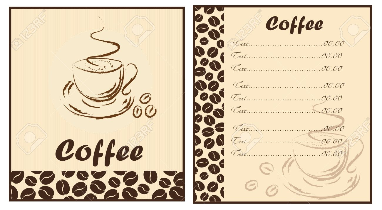 Set Of Two Templates Coffee Shop Menu Stock Vector