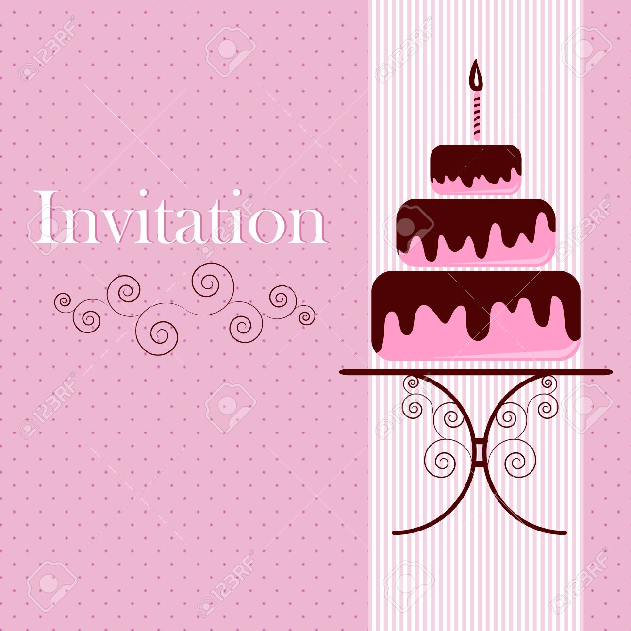 Invitation card with cake royalty free cliparts vectors and stock invitation card with cake stopboris Gallery