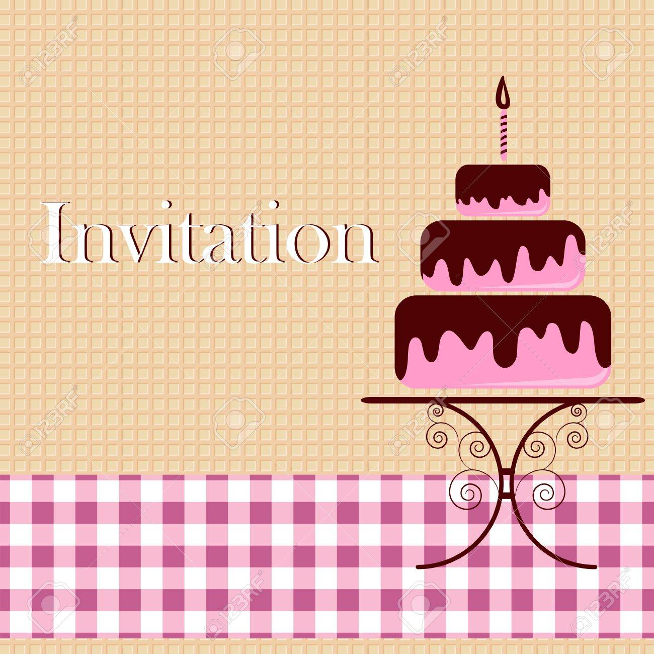 Invitation card with cake Stock Vector - 12485831