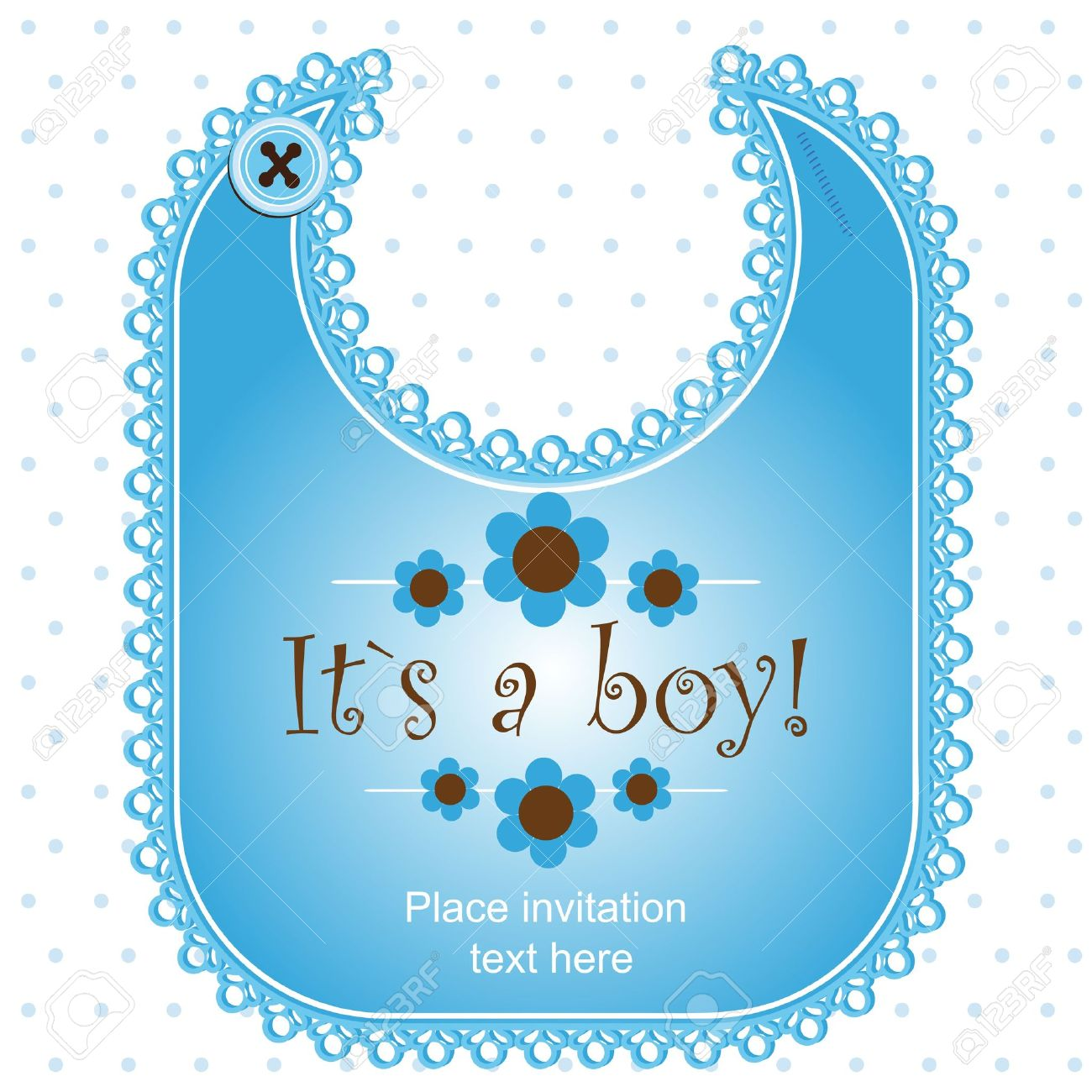 Baby shower card with a bib for a girl Stock Vector - 12486110