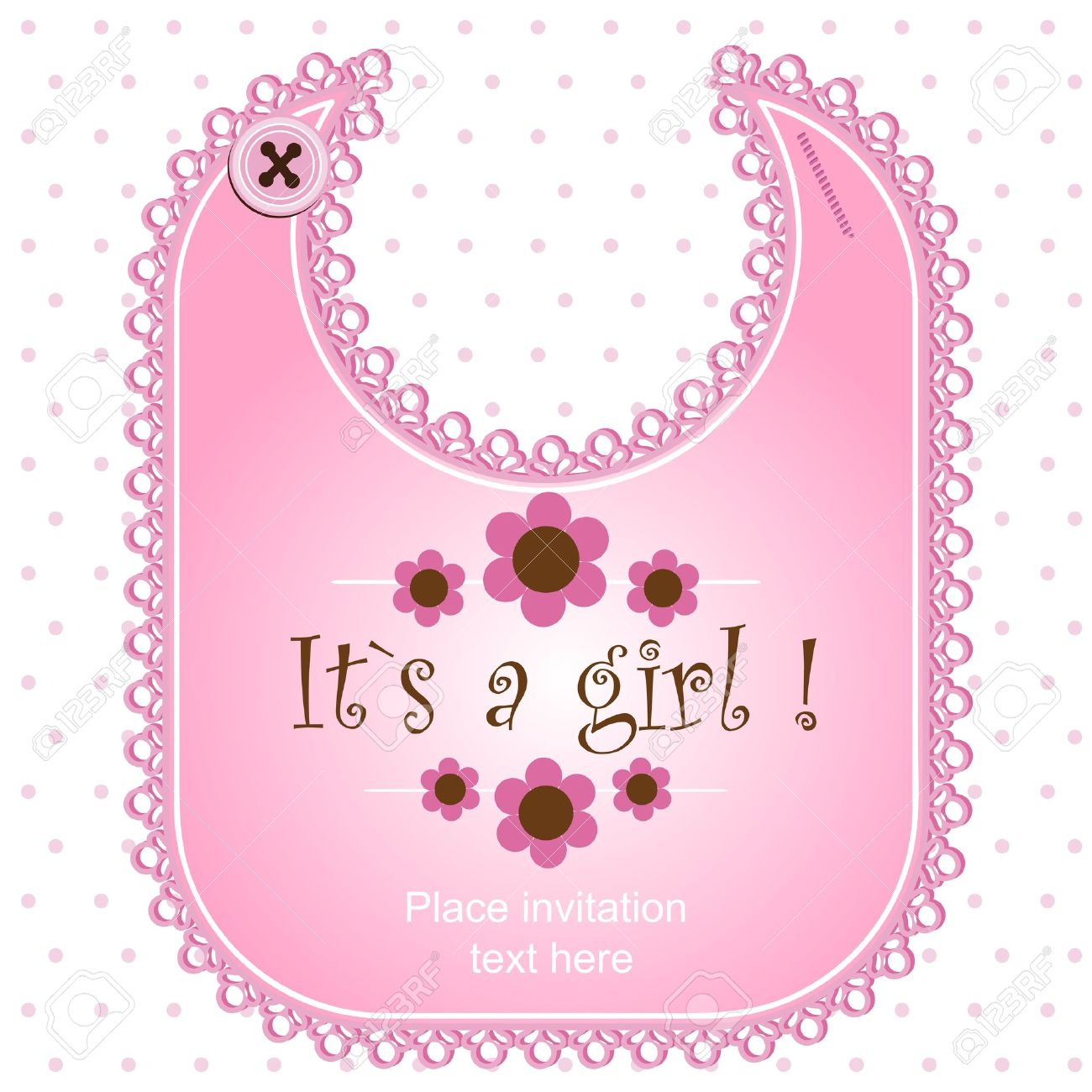 Baby shower card with a bib for a boy Stock Vector - 12486109