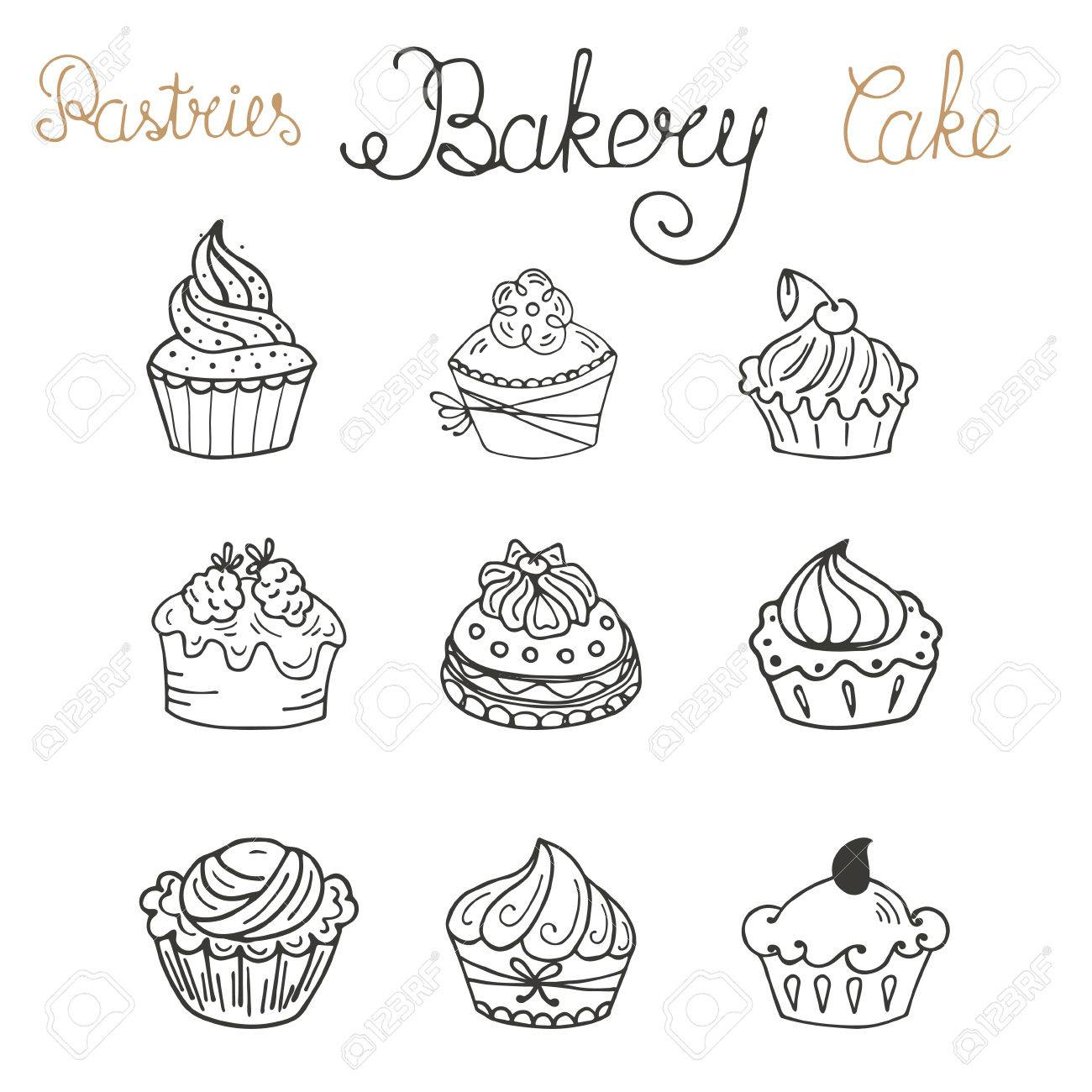 Set Of Hand Drawn Color Cakes Can Use For Design Wrapping Paper