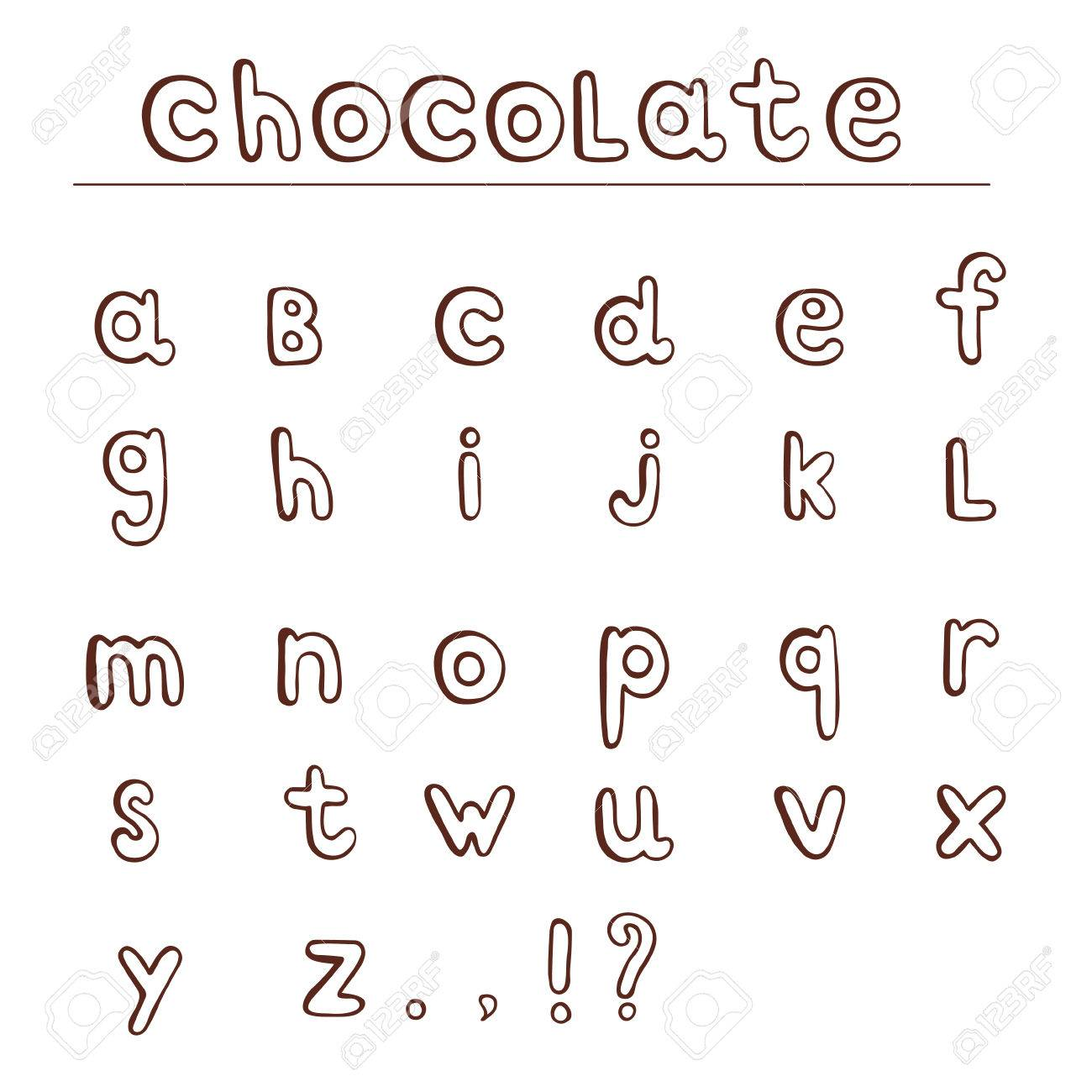 Chocolate Hand Draw Alphabet ABC For Your Projects And Design Lower Case Isolated