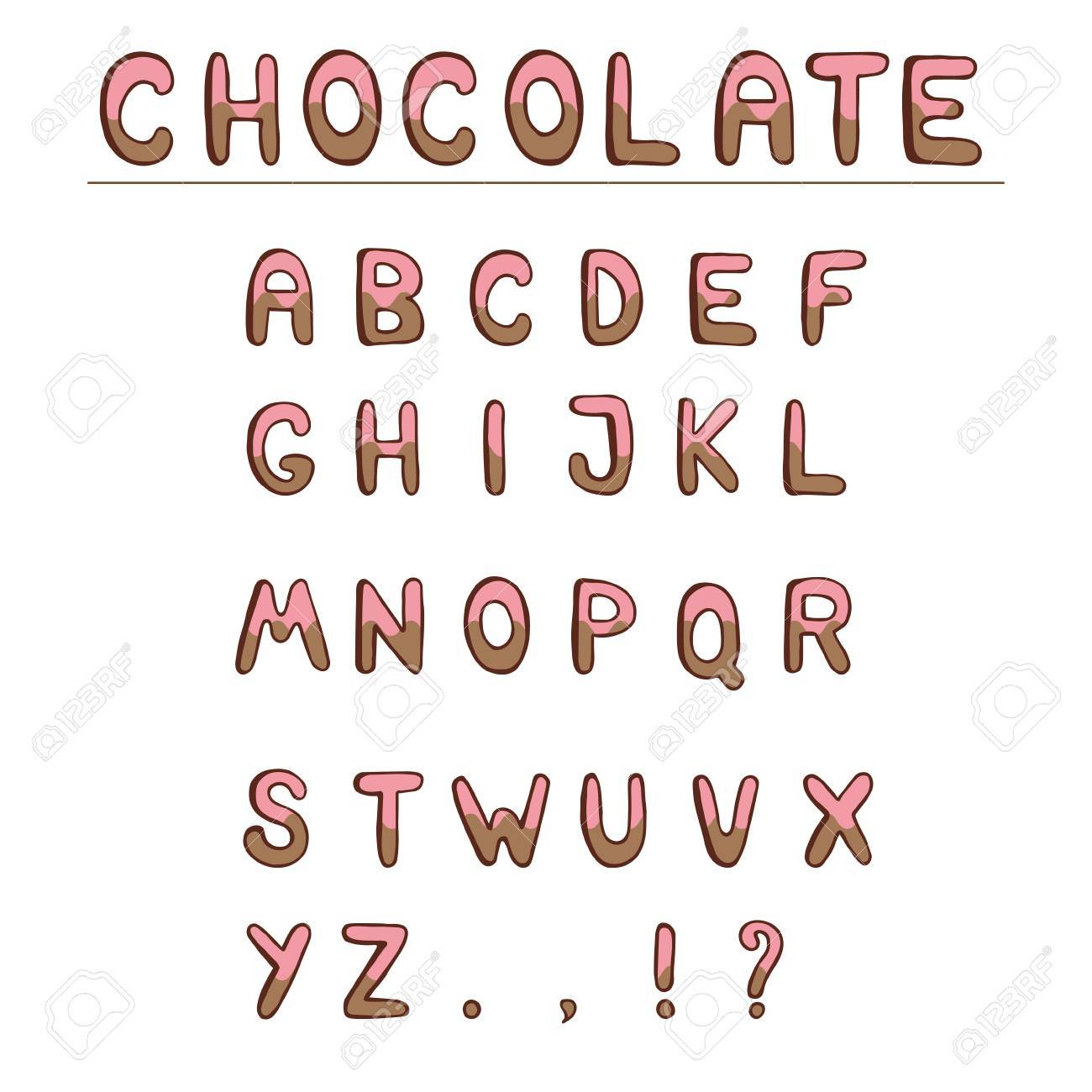 Chocolate Hand Draw Alphabet ABC For Your Projects And Design Capital Letters Isolated