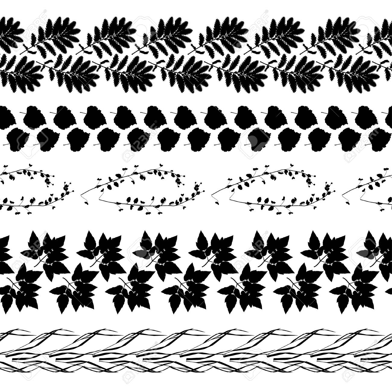 Black Leaves Seamless Border Vector Illustration For Your Design Royalty Free Cliparts Vectors And Stock Illustration Image 51124087