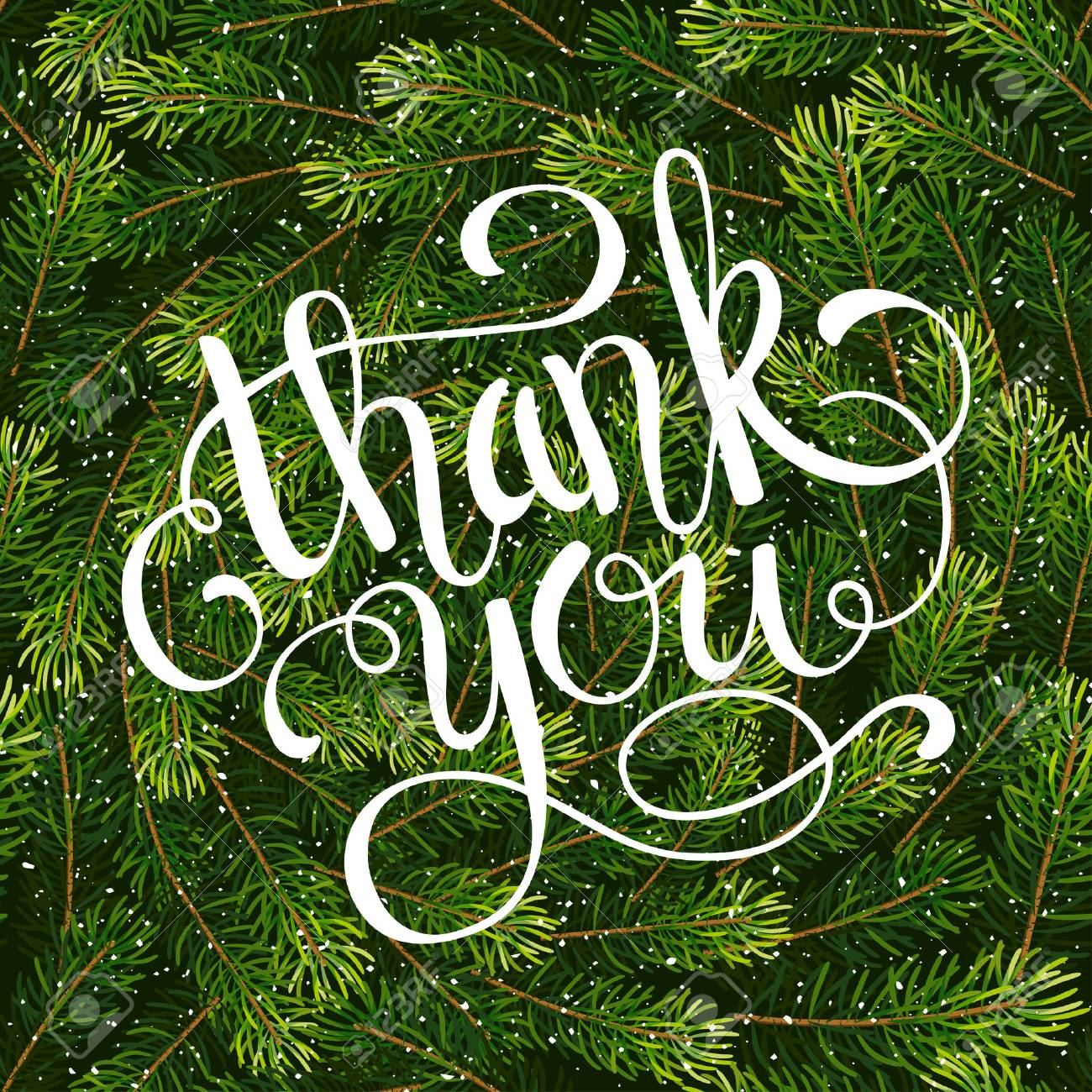 Holiday Gift Card With Hand Lettering Thank You On Christmas ...