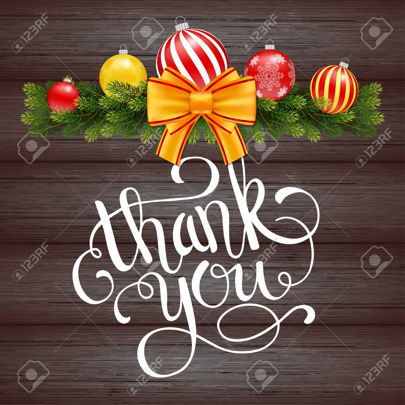 Holiday Gift Card With Hand Lettering Thank You And Christmas