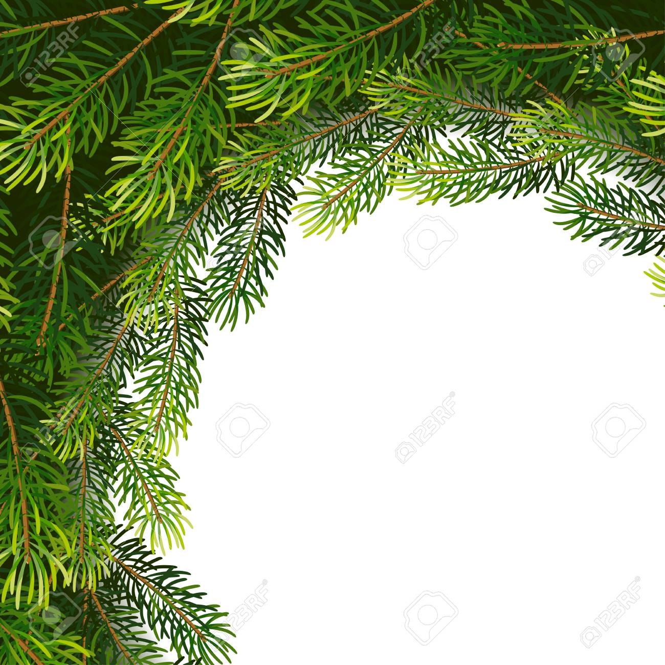 Christmas Wreath Frame From Fir Tree Branches Vector Illustration
