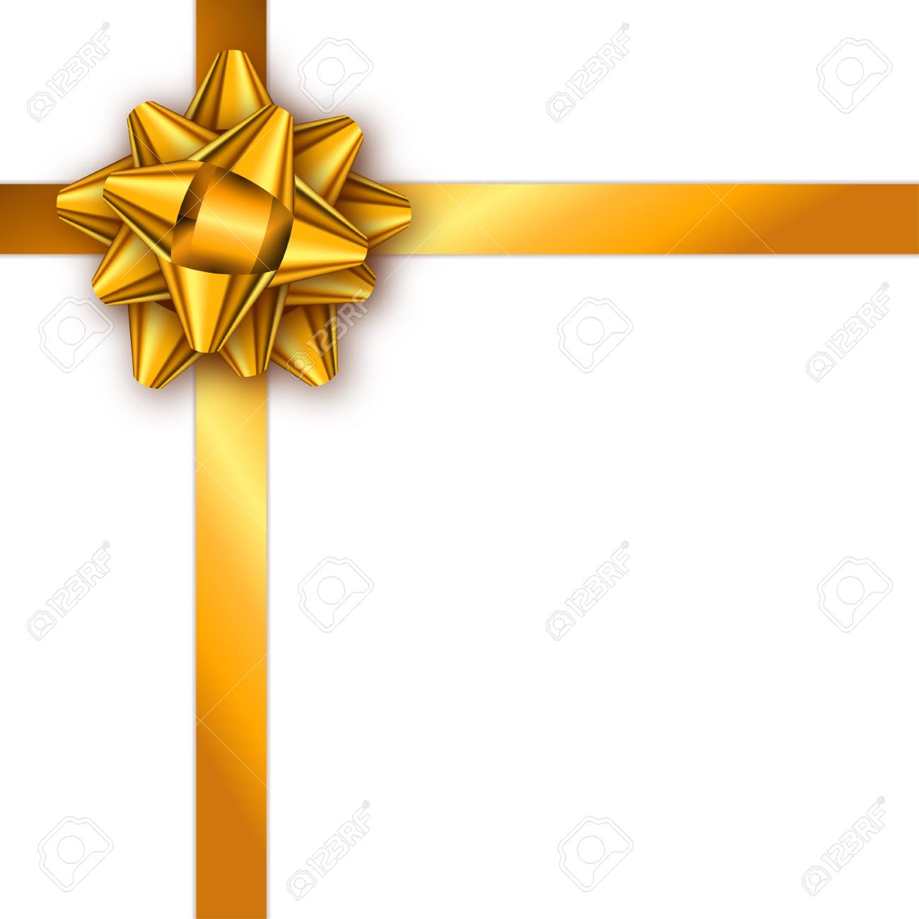 Holiday Gift Card With Golden Ribbon And Bow Template For A Business Banner