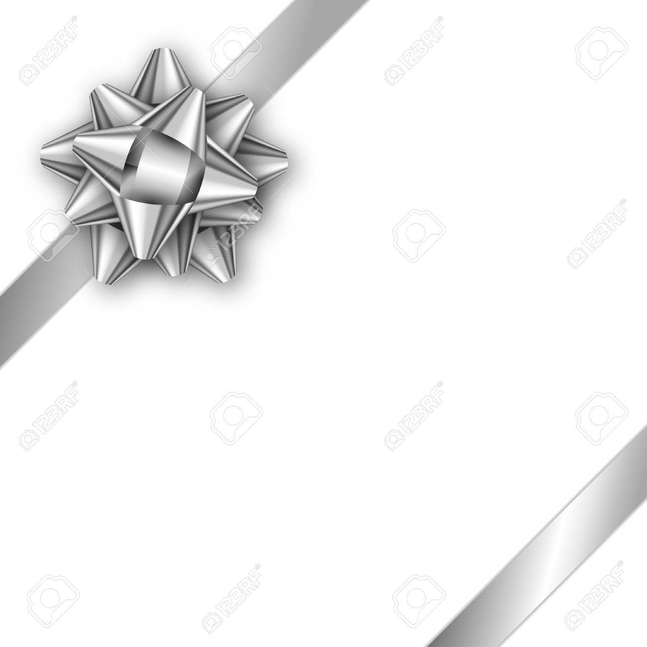 Holiday Gift Card With Silver Ribbon And Bow. Template For A ...
