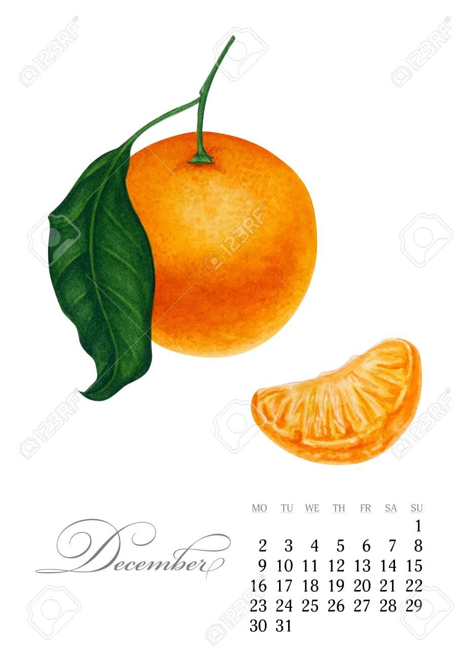 Elegant Printable Calendar 2019 December Watercolor Mandarin