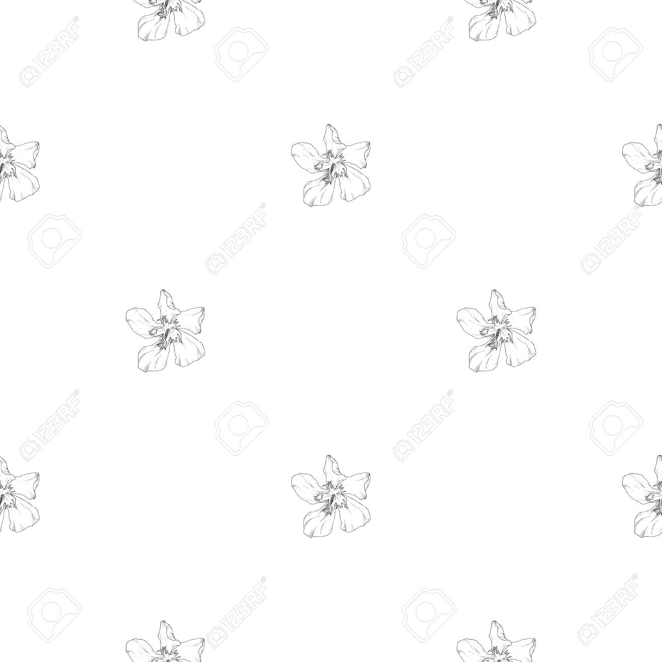 seamless pattern plant in blossom branch with flower ink sketch