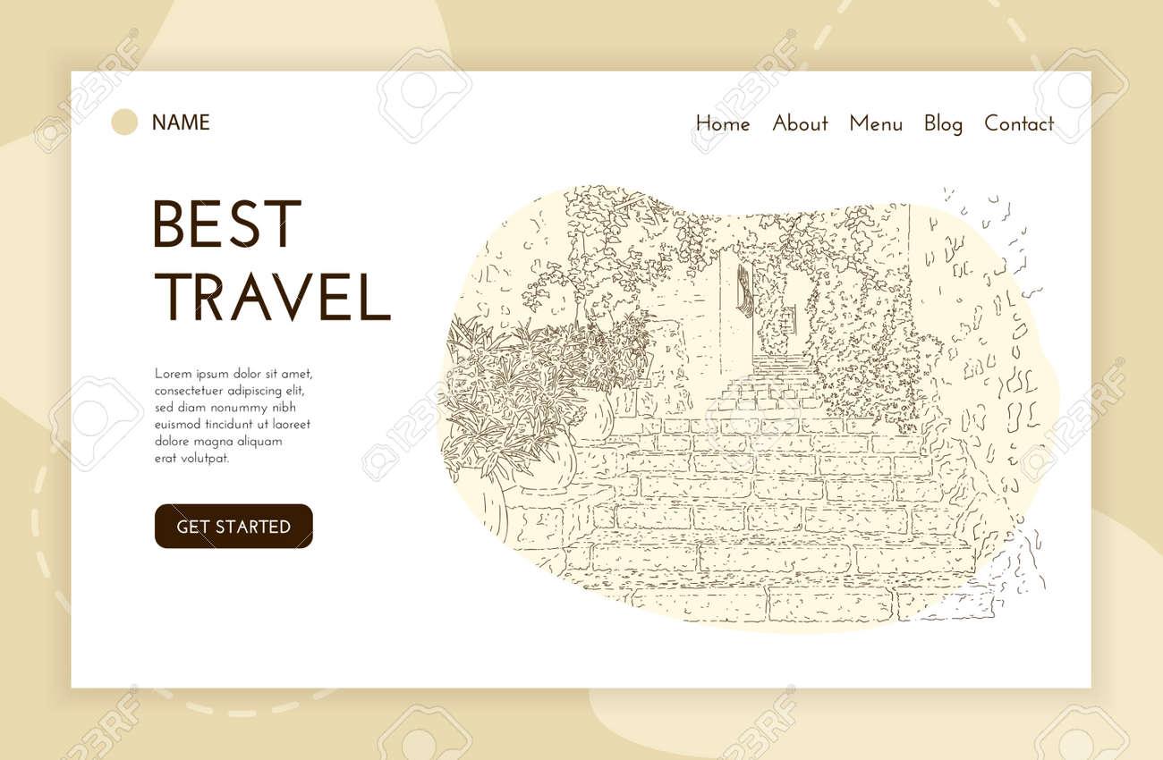 Web landing page template. City sketching. Line art silhouette. Travel banner. Tourism concept. France, Saint-Paul-de-Vence. Vector illustration. - 136657690