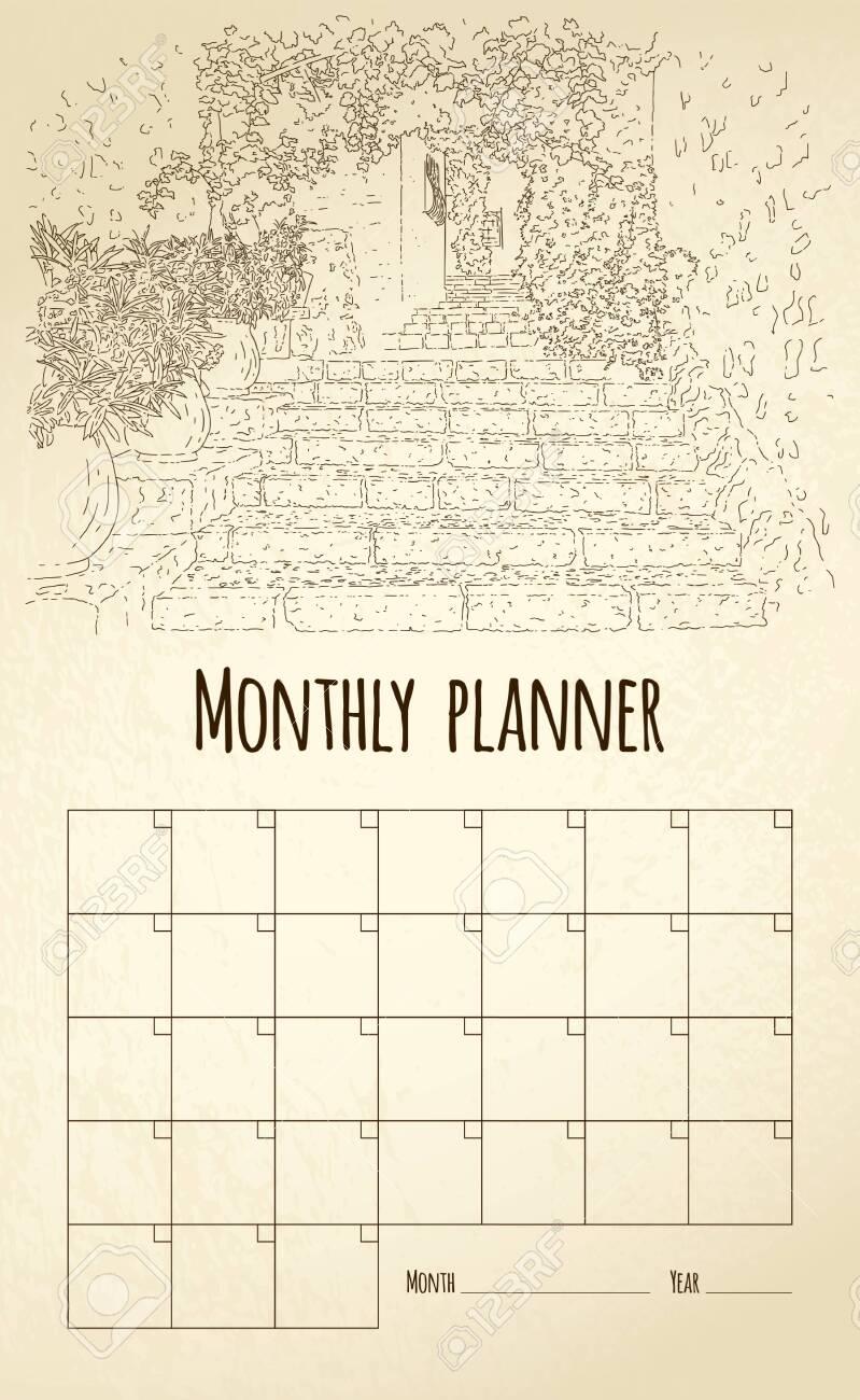Monthly planner. City sketching. Line art silhouette. France, Saint-Paul-de-Vence. Tourism concept. Vector illustration. - 141157747