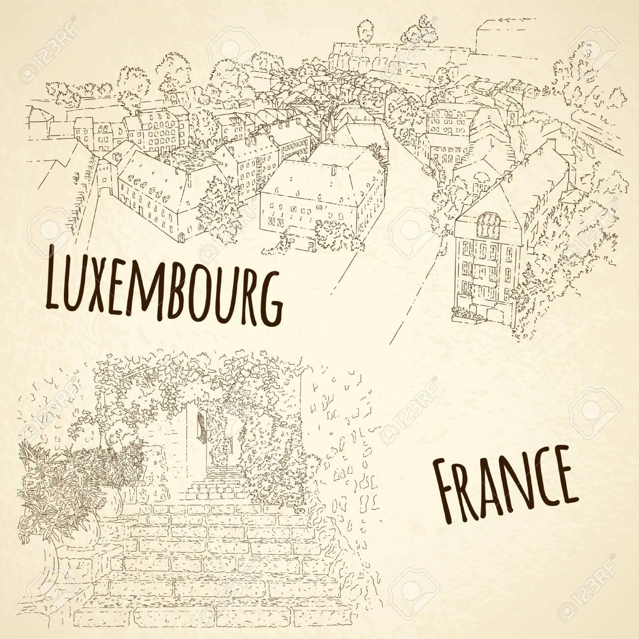 Set of city sketching. Line art silhouette. Travel card. Tourism concept. France, Saint-Paul-de-Vence. Luxembourg. Vector illustration. - 141157772
