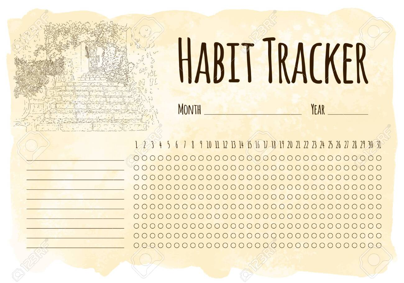 Habit tracker. City sketching. Line art silhouette. Travel card. Tourism concept. France, Saint-Paul-de-Vence. Sketch style vector illustration. - 148206236