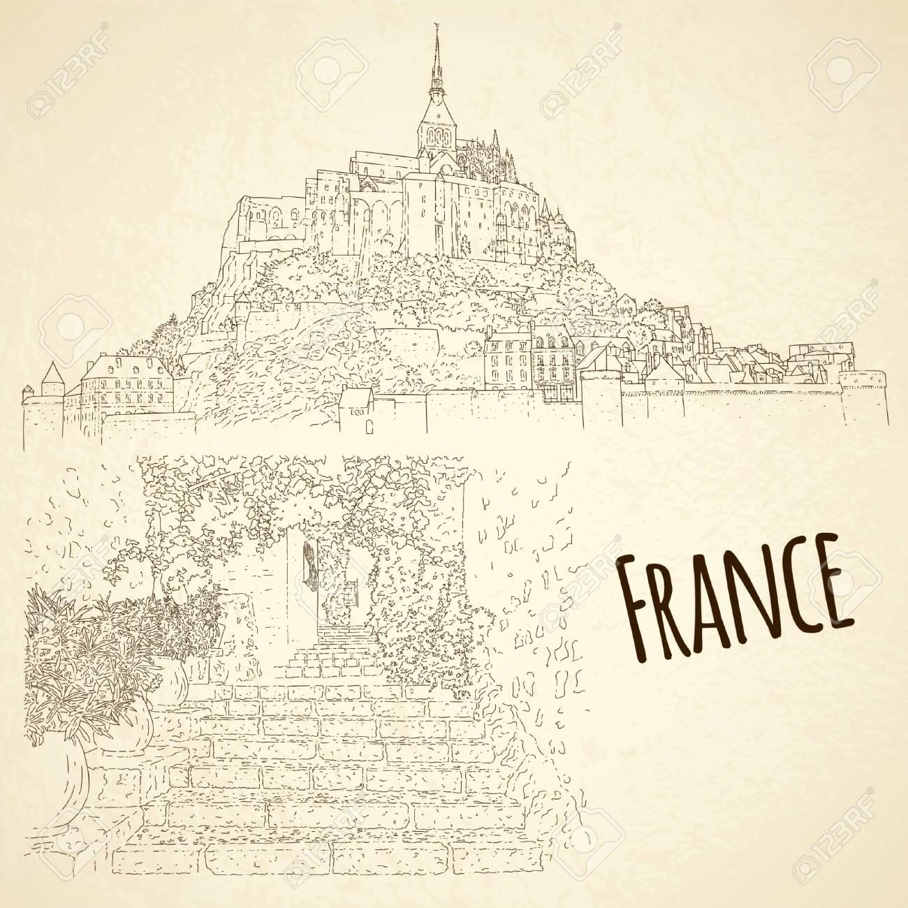 Set of city sketching. Line art silhouette. Travel card. Tourism concept. France, Saint-Paul-de-Vence, Mont Saint-Michel. Vector illustration. - 148206424