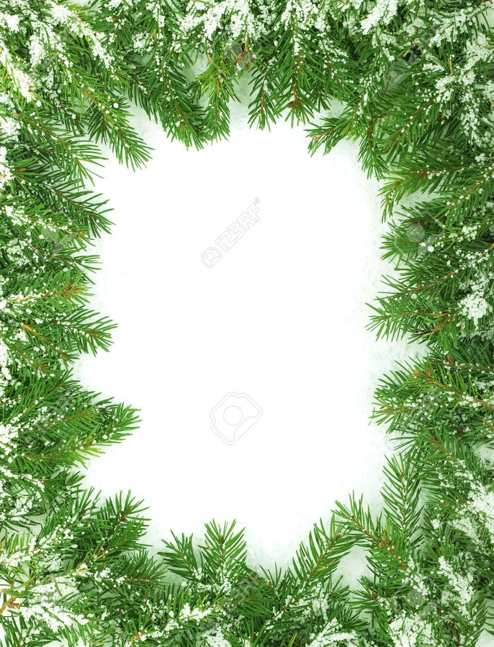 Christmas framework with snow isolated on white background Stock Photo - 5748341