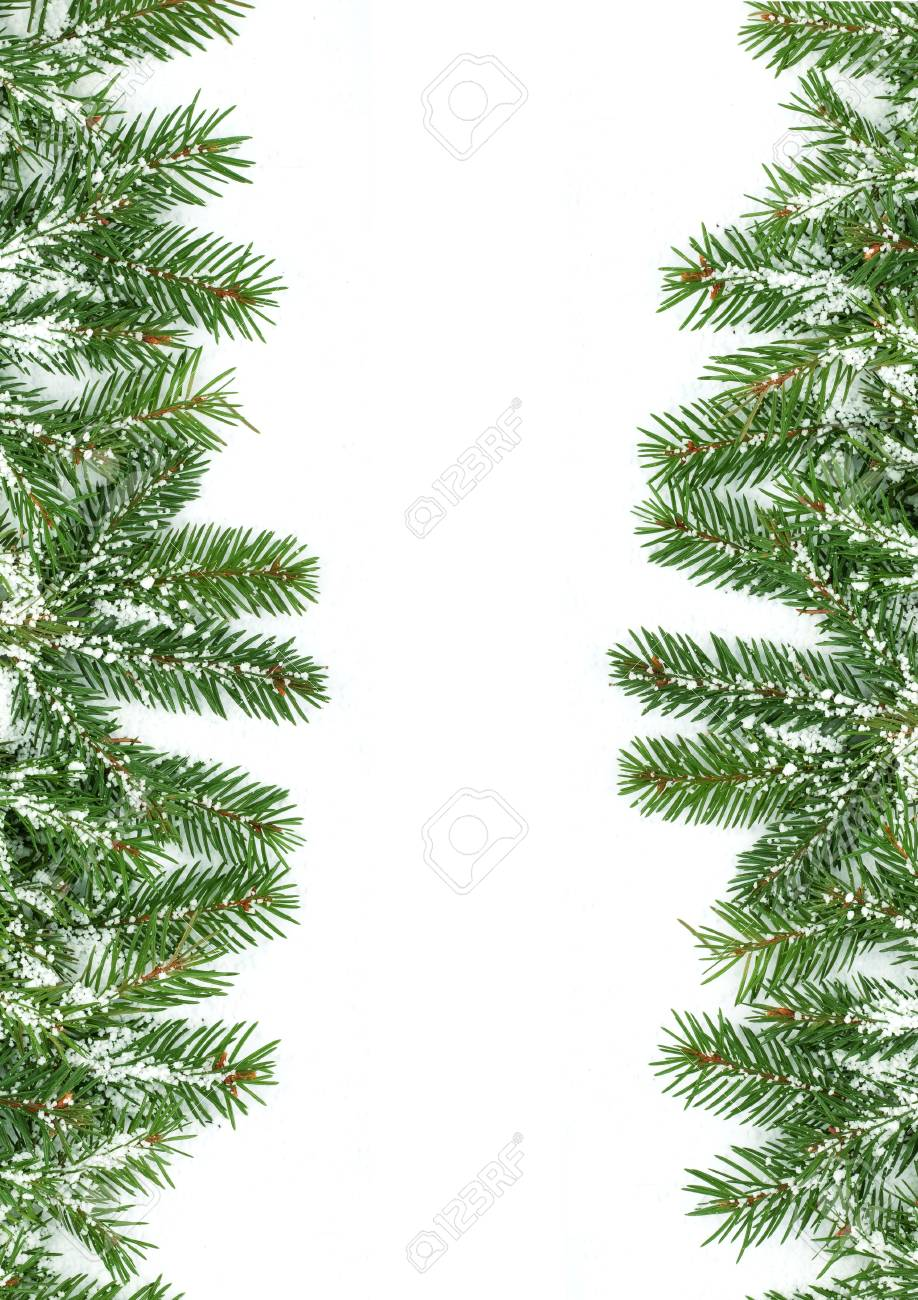 Christmas framework with snow isolated on white background Stock Photo - 5790068