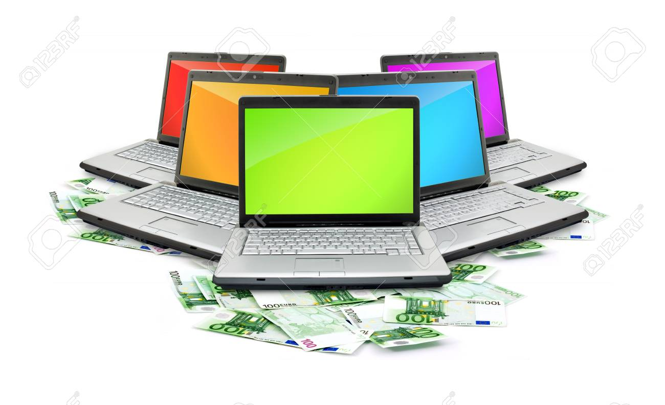 Open laptop with money  isolated on white background Stock Photo - 6979286