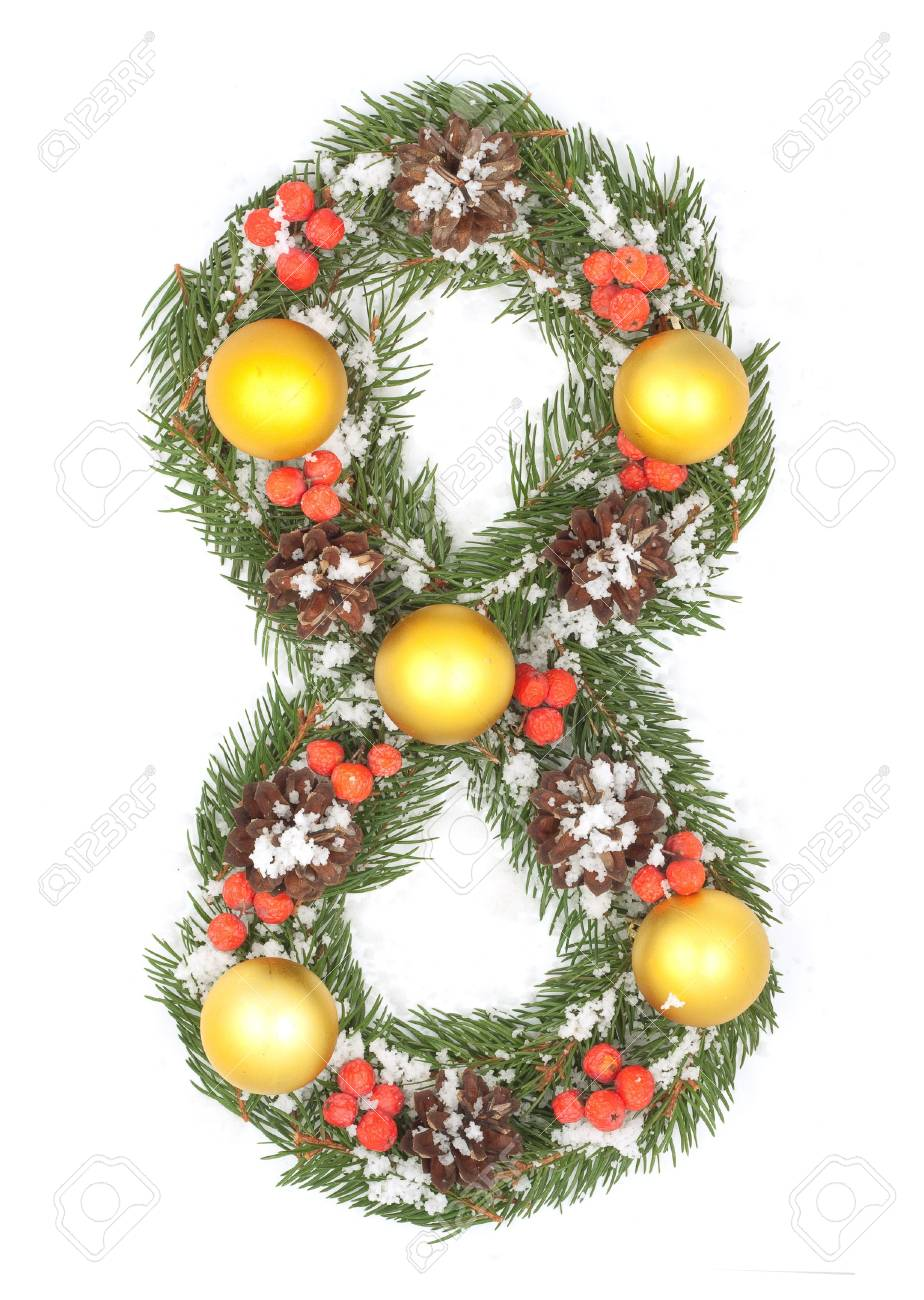 NUMBER 8 - Christmas tree decoration - part of a full set Stock Photo - 8162655