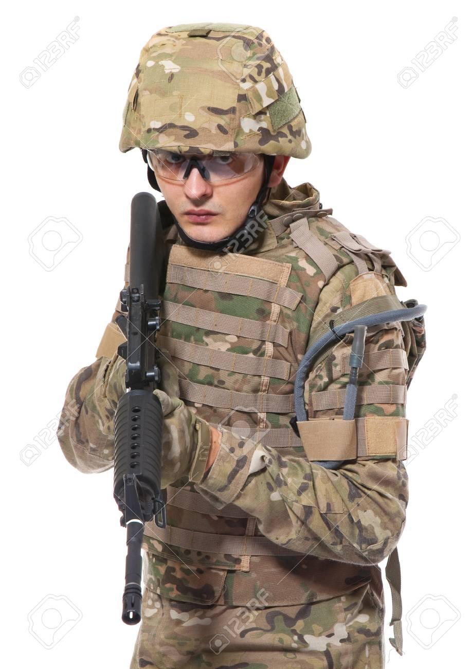 Modern soldier with rifle isolated on a white background Stock Photo - 8543641