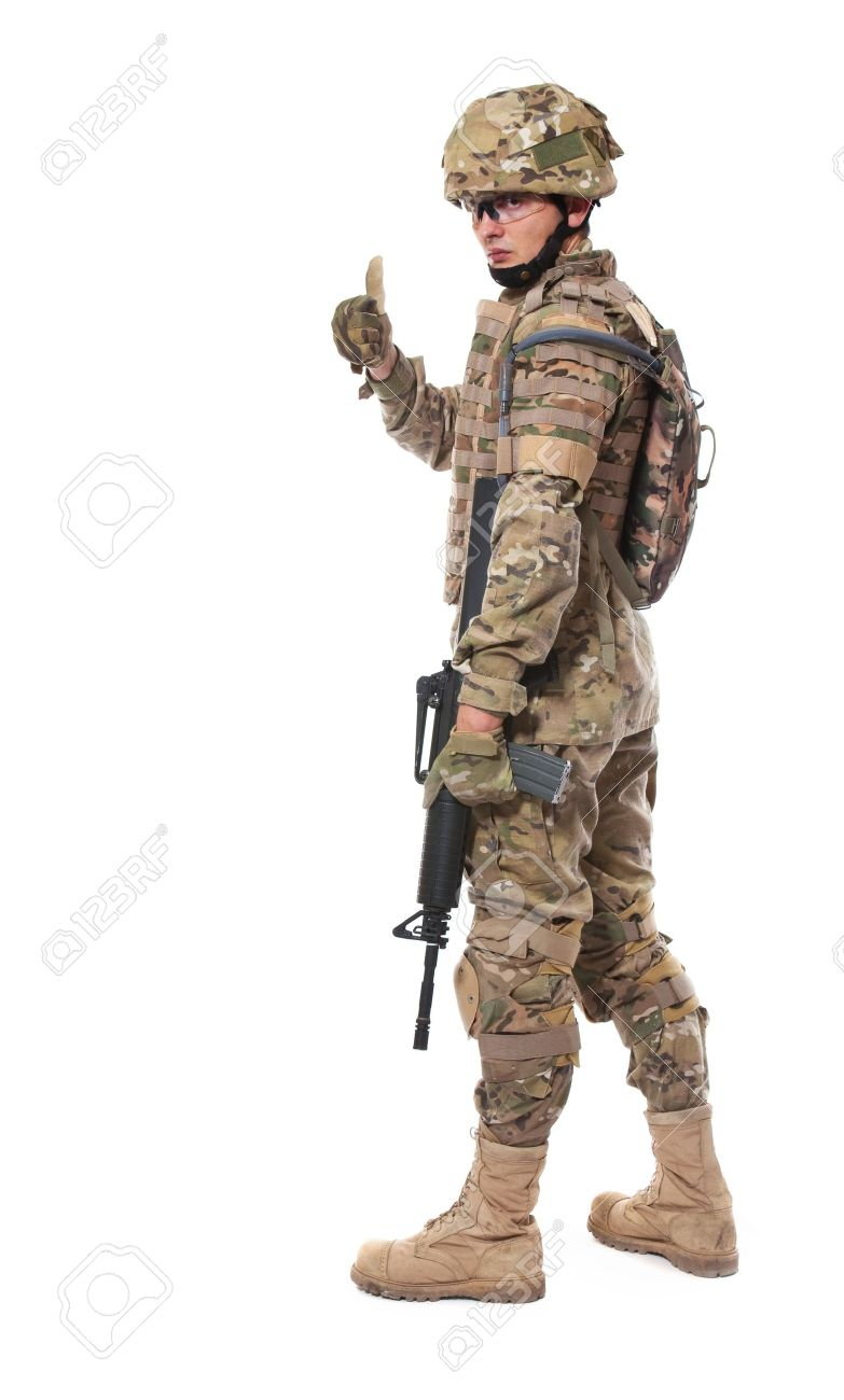 modern soldier with rifle isolated on a white background stock photo