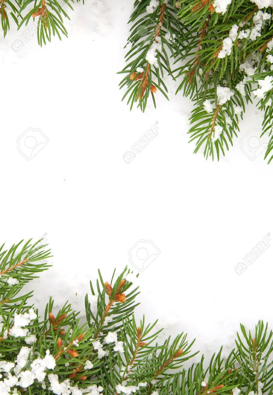Christmas framework with snow isolated on white background Stock Photo - 10073640