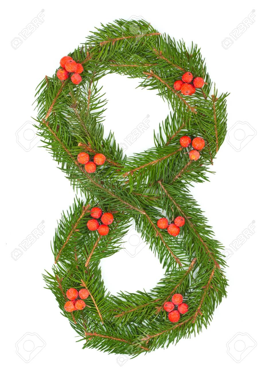 NUMBER 8 - Christmas tree decoration - part of a full set Stock Photo - 11318207