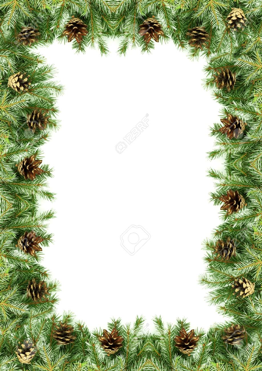 Christmas framework with snow isolated on white background Stock Photo - 11318332