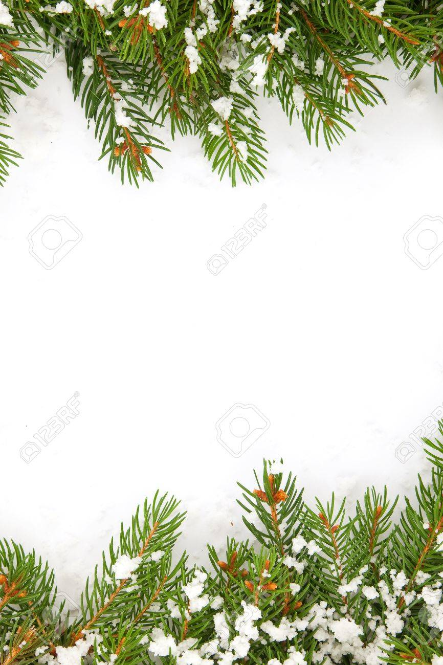 Christmas framework with snow isolated on white background Stock Photo - 12344512