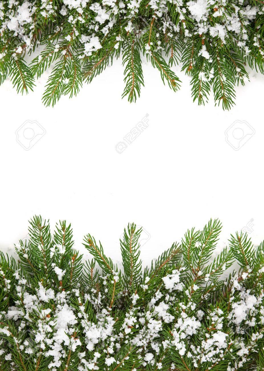 Weihnachten Rahmen Mit Schnee Isoliert Auf Weißem Hintergrund ...