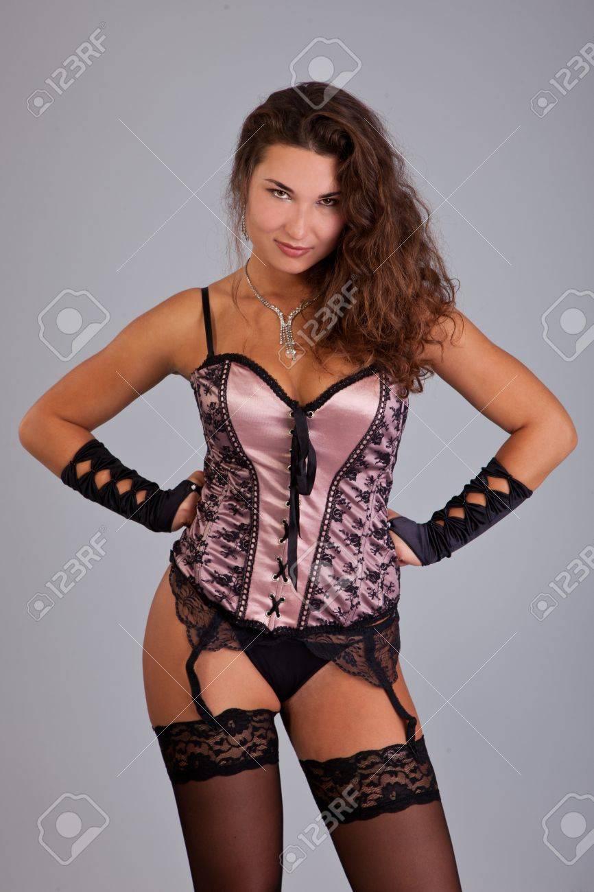 Beauty Portrait. Beautiful woman. Shot in a studio on a grey background Stock Photo - 13911218