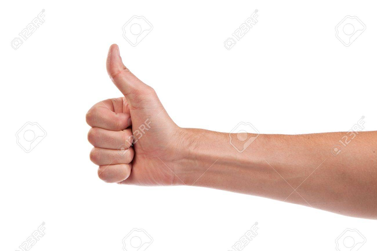 Closeup of male hand showing thumbs up sign isolated against white background Stock Photo - 14472278