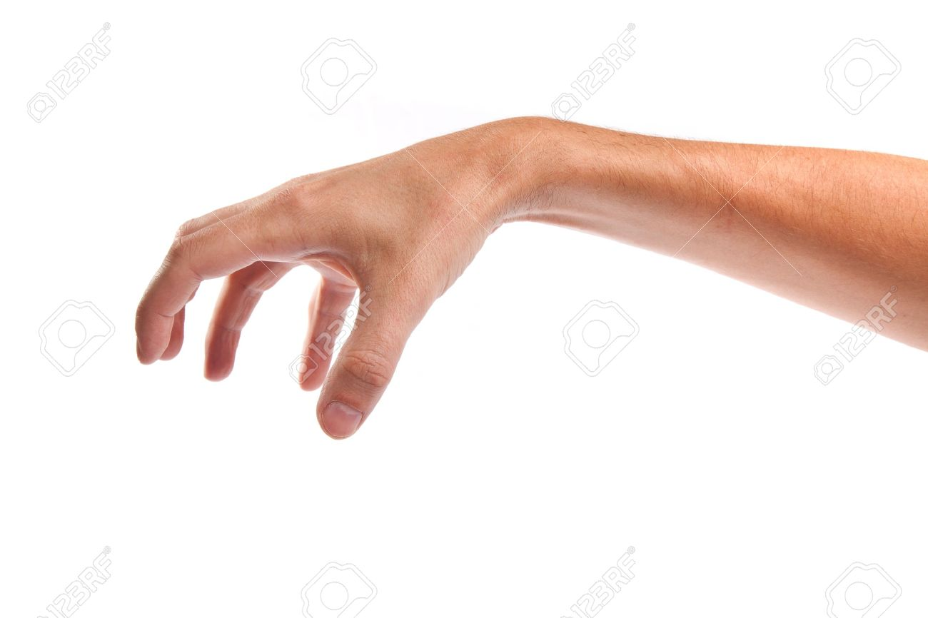 Well shaped male hand reaching for something isolated on a white background Stock Photo - 14472258