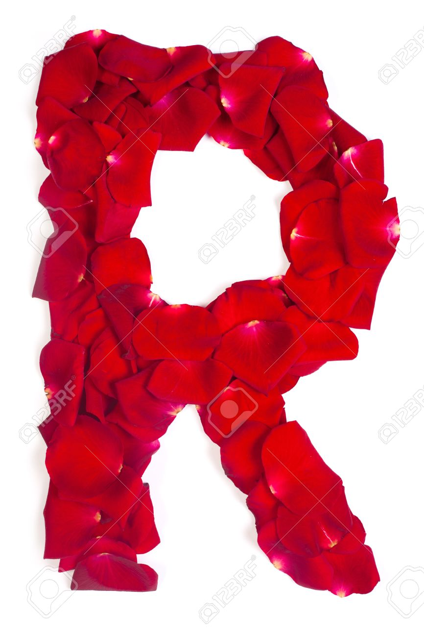 Alphabet Letter R Made From Red Petals Rose Isolated On A White Background  Stock Photo
