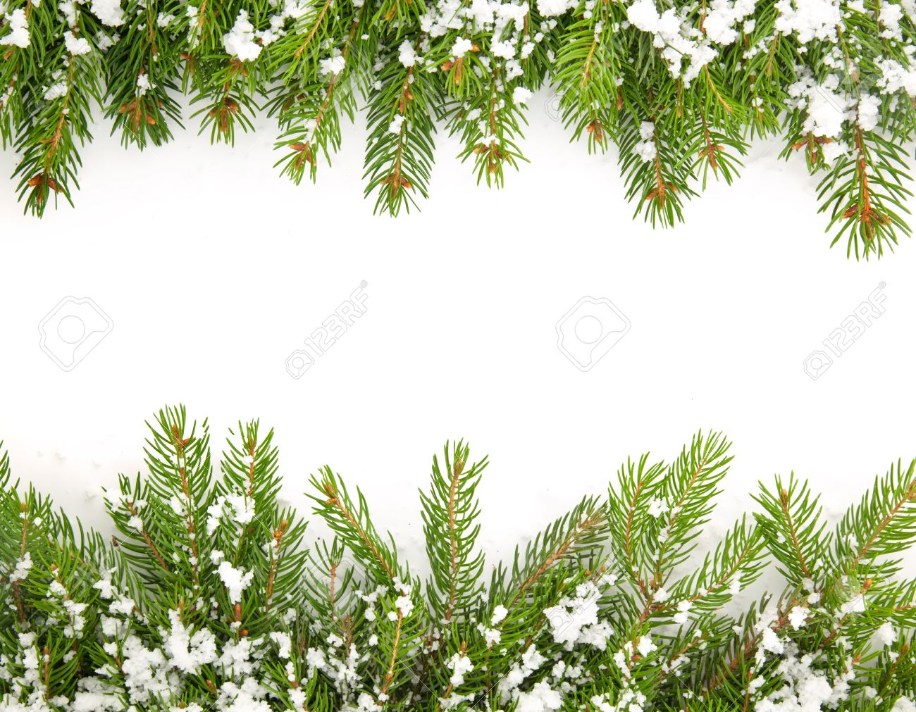 Christmas framework with snow isolated on white background Stock Photo - 15278652