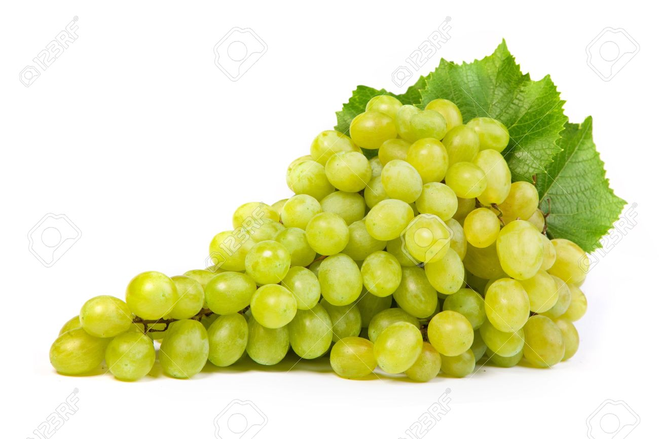 Bunch of fresh grapes isolated on white - 15636825