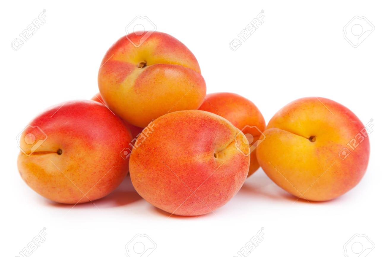 Apricots. Group of ripe apricots isolated on white background Stock Photo - 15636770
