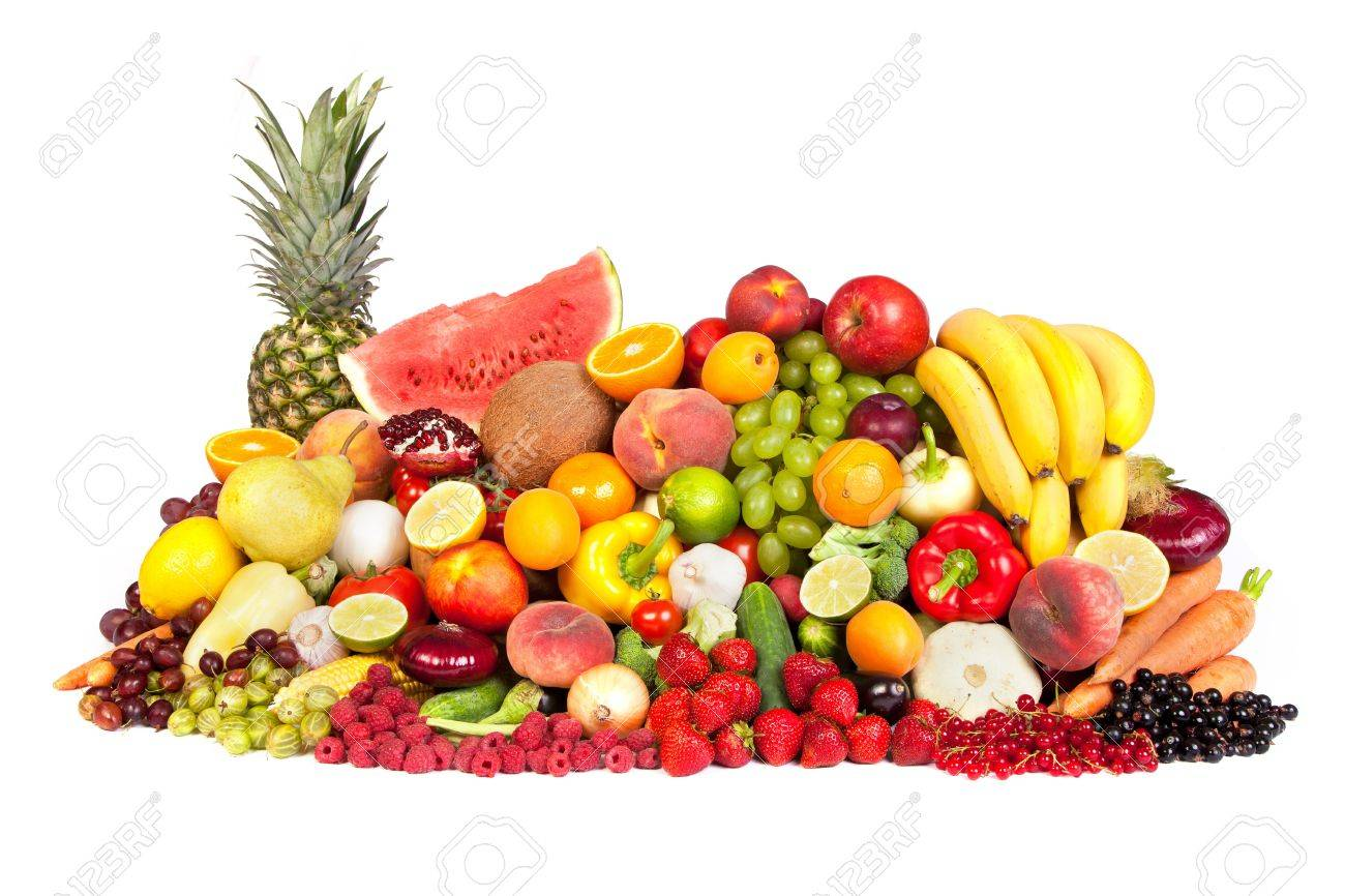 Huge group of fresh vegetables and fruits isolated on a white background. Shot in a studio Stock Photo - 15767225