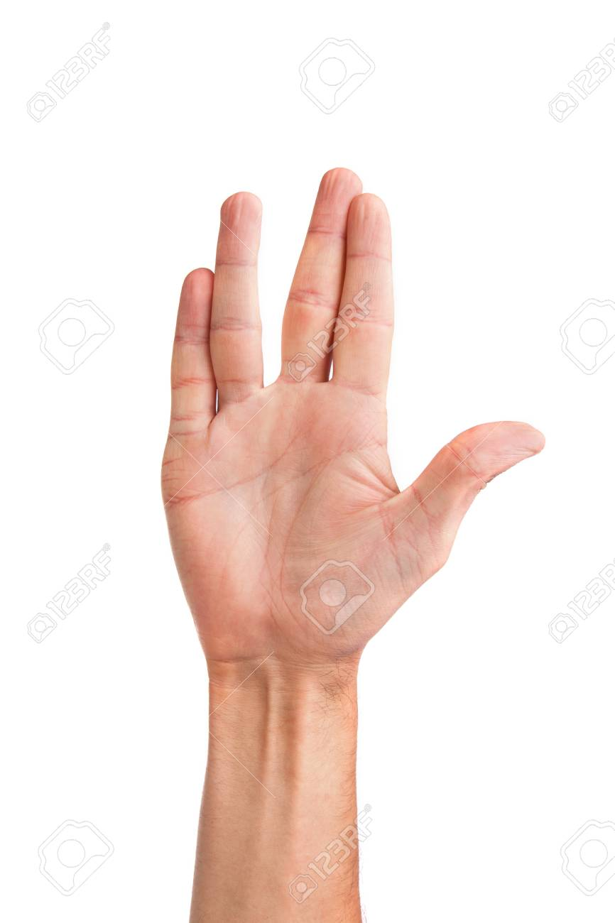 Male palm hand vulcan gesture, isolated on a white background Stock Photo - 15767173