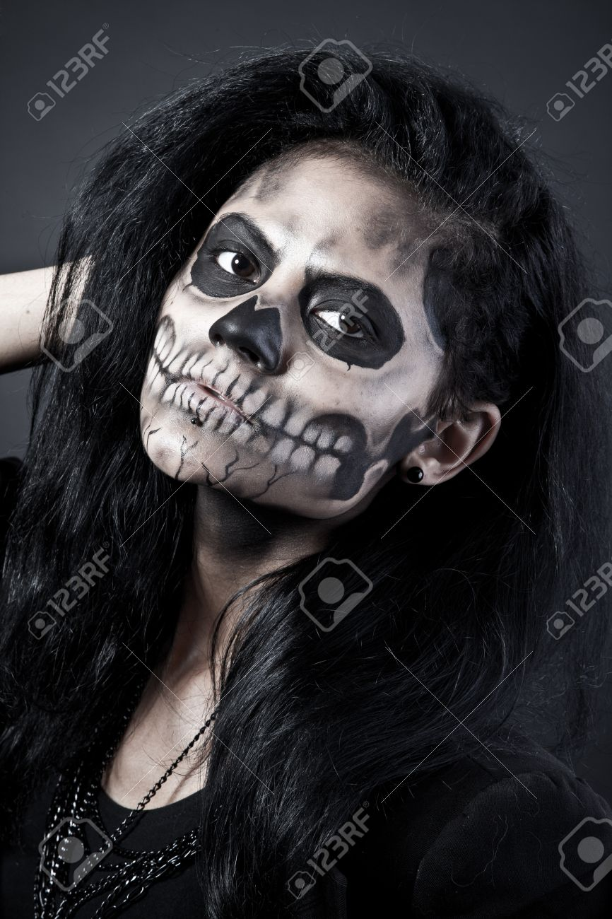 Young Woman In Day Of The Dead Mask Skull Face Art. Halloween ...
