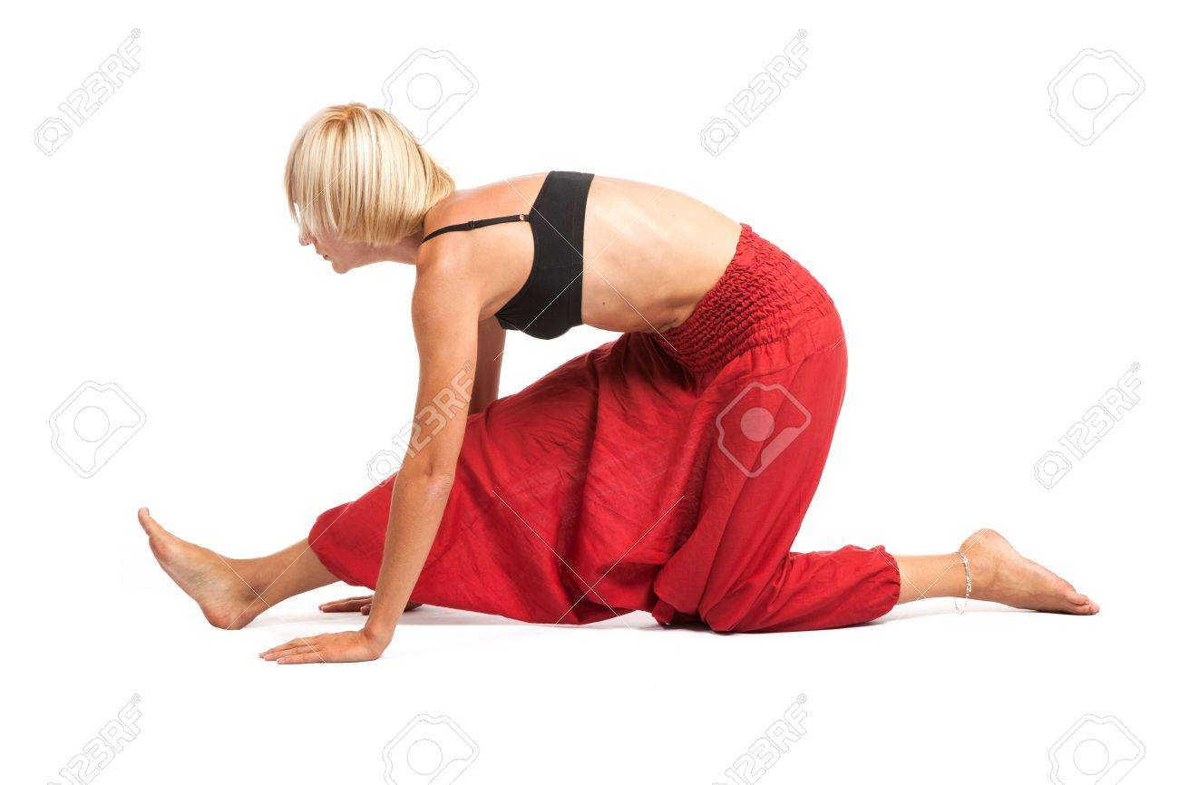 Full set of yoga asanas  Practicing Yoga  Young woman in traditional