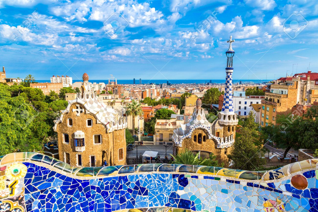 Park Guell By Architect Gaudi In A Summer Day In Barcelona