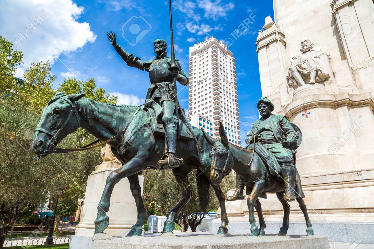 Statues Of Don Quixote And Sancho Panza At The Plaza De Espana ...