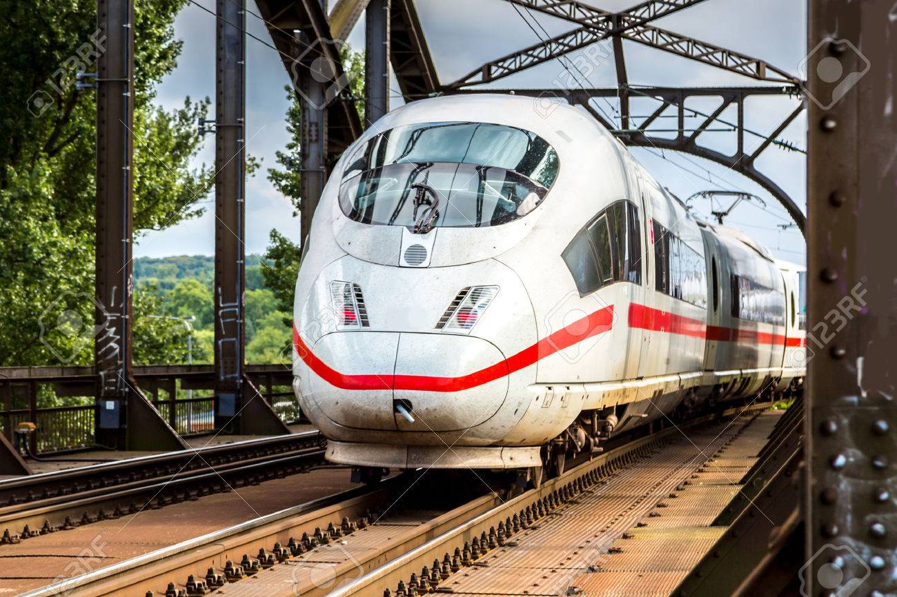 Electric InterCity Express in Frankfurt, Germany in a summer day - 101889659